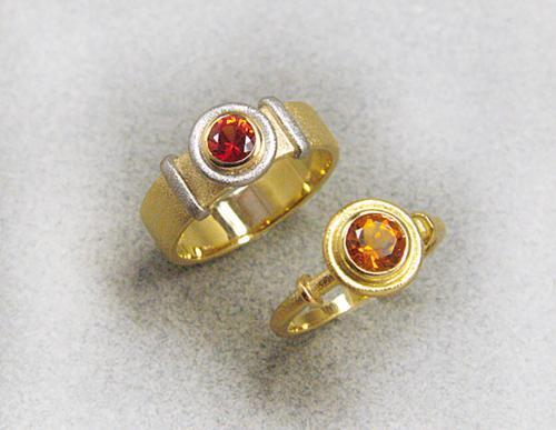 2 Ringe Citrin Safir Orange WS